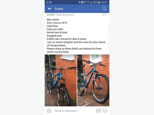 stolen bike £2000 reward