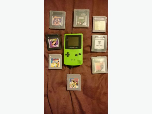 game boy colour with 7 games