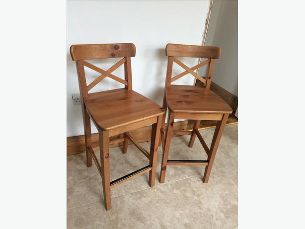 Pair of Ikea bar stools with backrest antique pine
