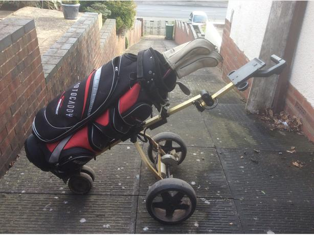 Electric Golf Trolley, Charger, Golf Bag and Some Clubs