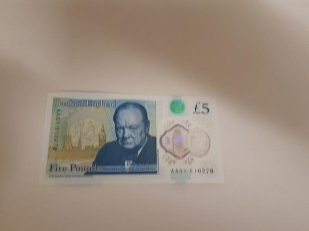 aa01 010278 rear 5 pound note rare £5 note