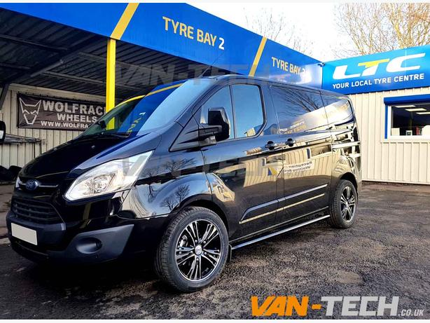 """Ford Transit fitted with Odyssey 18"""" Alloy Wheels and Black Side Bars"""
