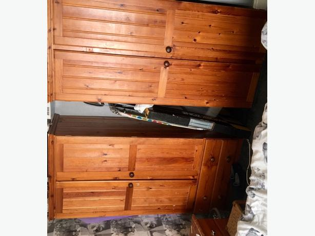 2 pine wardrobes for sale 50 pound for both need gone as new in the way