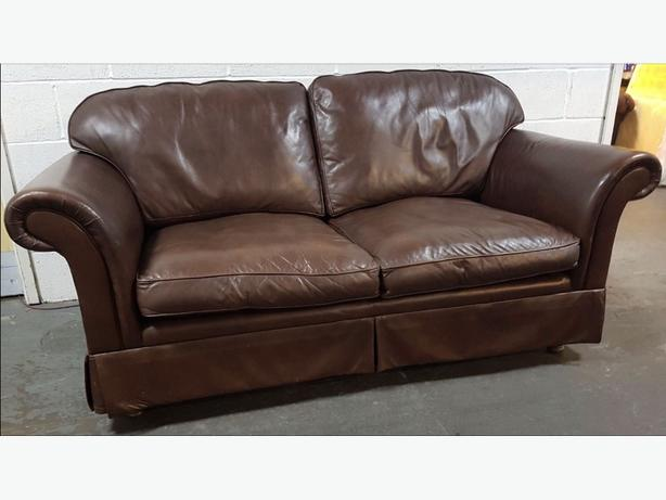 Laura Ashley Chesterfield Style Brown Leather Sofa .WE DELIVER ...