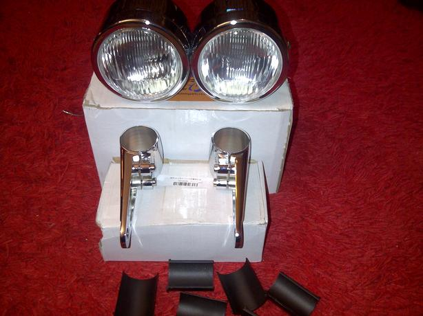 twin crome head lights NEW