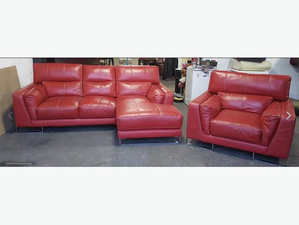 DFS Thick Red Leather Corner Sofa & Armchair With Reclining Headrests.WE DELIVER