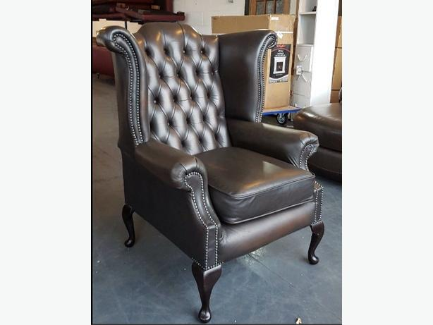 Vintage Chesterfield Brown Leather St Ann's Wingback Armchair .WE DELIVER