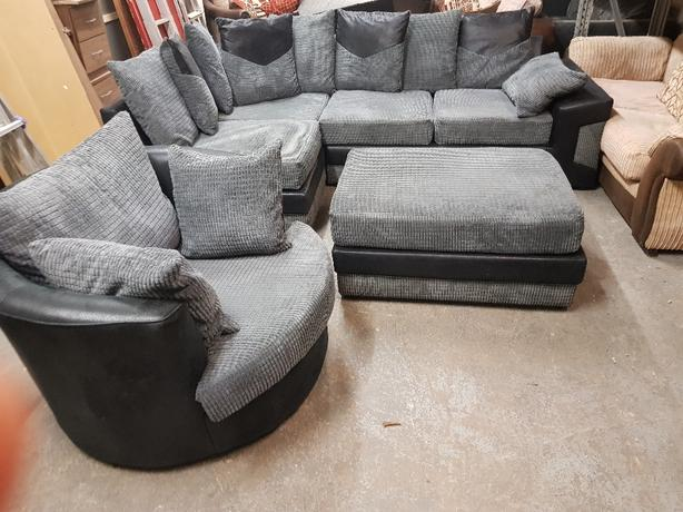Corner Sofa And Puff And Swivel Chair Coseley Wolverhampton