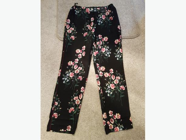 M&S Collection Floral Print Trousers (Size 12)