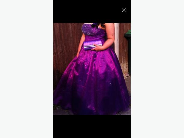 purple prom dress with bag