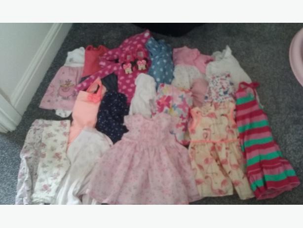 0-12mths girls clothes/moses basket/bath/car seat/walker