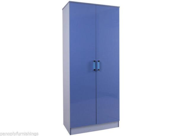"BLUE GLOSS 30"" 2 DOOR WARDROBE"