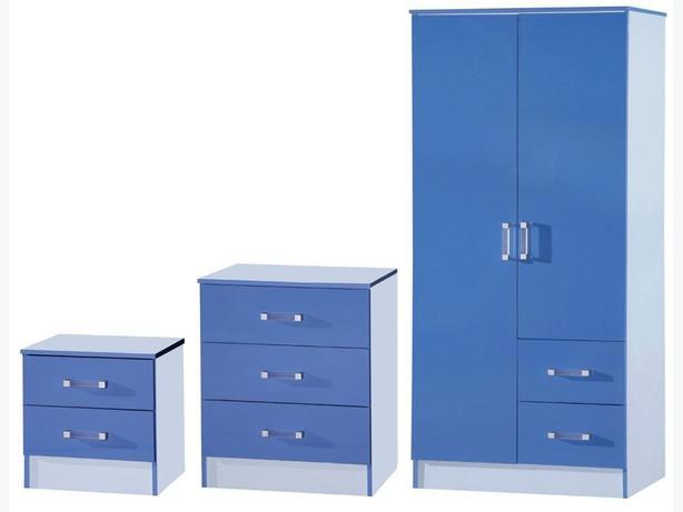 QUALITY GLOSS BLUE COLOUR TRIO BEDROOM SET