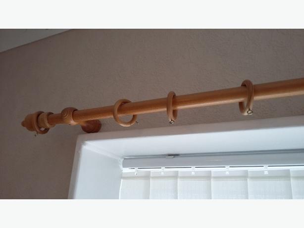 2  pine curtain poles
