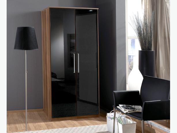 "TEAK/BLACK GLOSS 30"" QUALITY WARDROBE"
