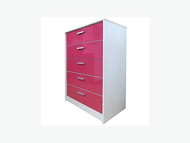 5 DRAWER PINK/WHITE CHEST OF DRAWERS