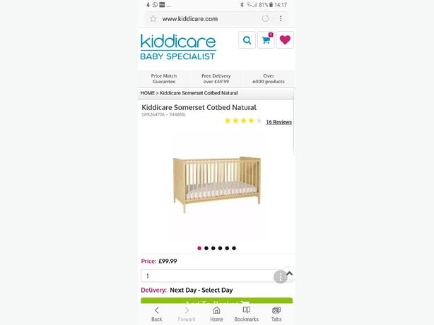 kiddicare cot/bed