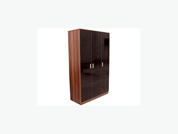 triple door wardrobe in teak shell and black frontage £115