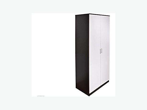 "BLACK/WHITE 30"" 2 DOOR WARDROBE - £80 BRANDNEW"