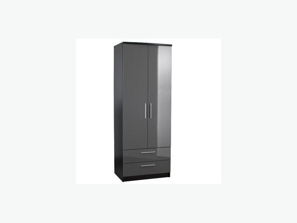 GLOSS BLACK QUALITY COMBO DRAWER WARDROBE - £135