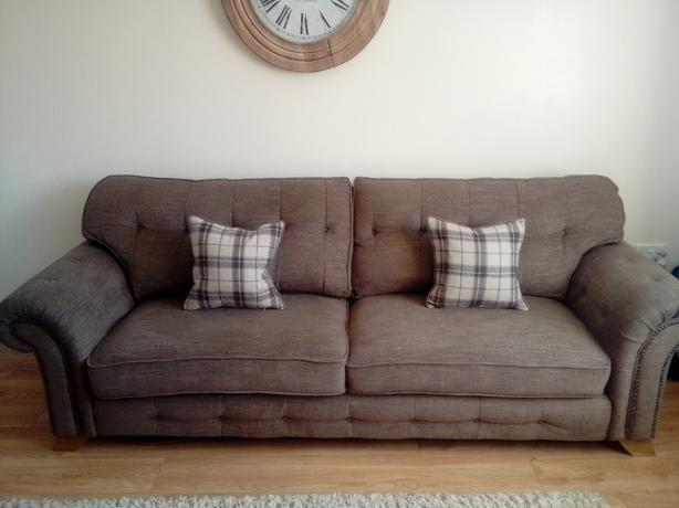 oakland furniture 4 seater sofa, storage foot stool and armchair