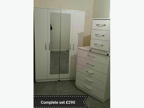 BEDROOM PACKAGE SET- WARDROBES AND CHEST DRAWS AND BEDSIDE