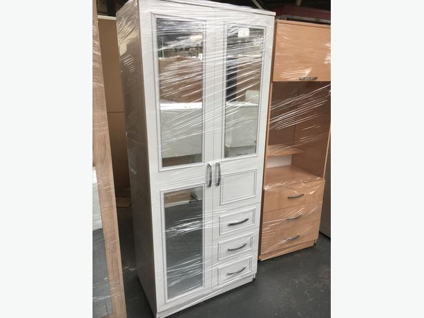 COMBO 2 DOOR MIRROR/DRAWS WARDROBE - £99
