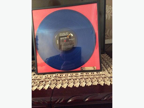 Elvis Presley framed blue vinyl