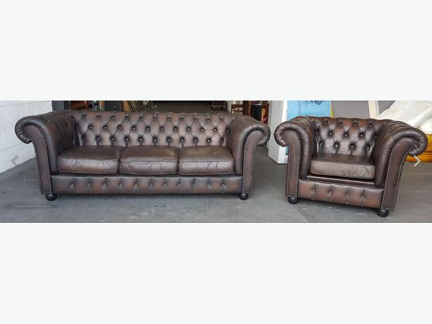 STUNNING Chesterfield Vintage Brown Leather Sofa Set.WE DELIVER