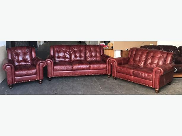 DFS Wine Red Distressed Chesterfield Style Natural Leather Sofa Set.WE DELIVER