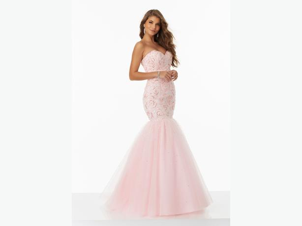 Light Pink Tulle Mermaid Morilee Prom Dress