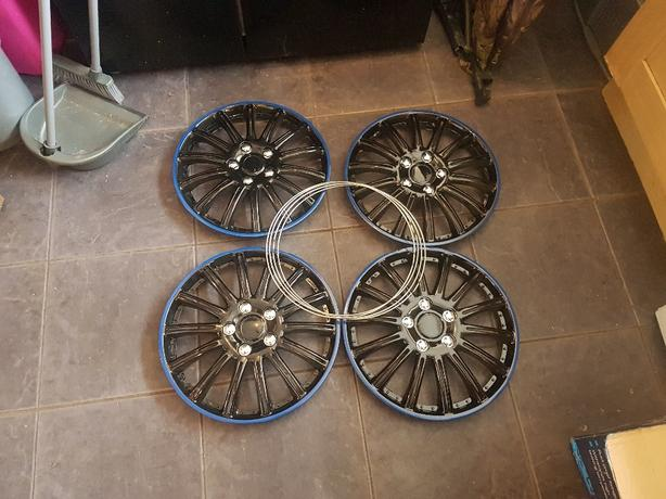brand new set of 4 14inch black wheel with blue outer line  trims