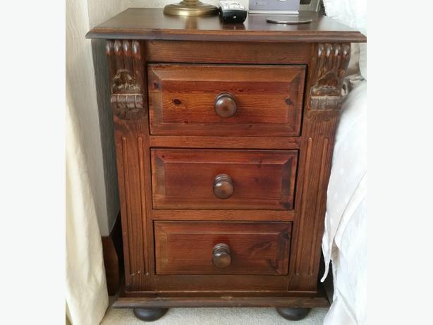 Bedframe with 2 bedside cabinets, tallboy/dresser unit/mirror in dark pine