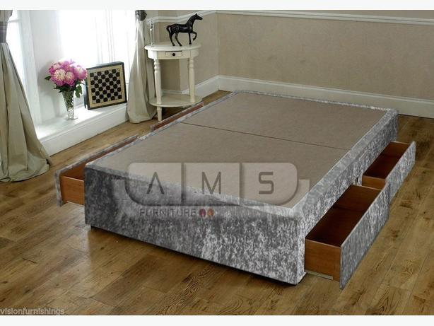 4 DRAW CRUSHED VELEVT DOUBLE BED BASE SET* BRANDNEW