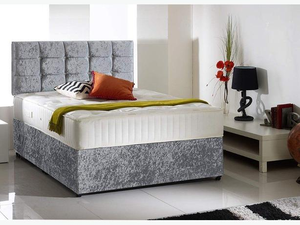 DOUBLE ORTHOPAEDIC MATTRESS WITH VELVET BED BASES DIVAN BED