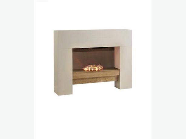 electric fire suite with wooden shelf