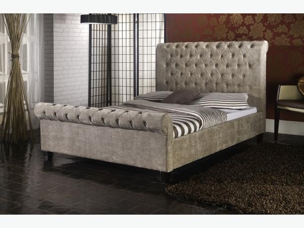 "DIAMANTE"" DOUBLE SIZE VELVET CRUSHED LUXURY DESIGN BED"