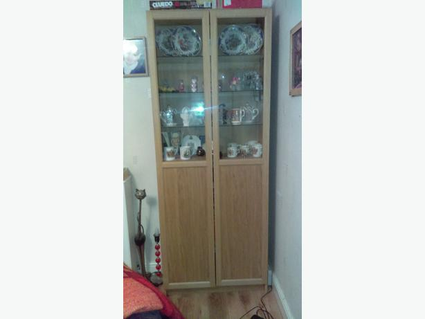 Pine display cabinet/unit with half glass doors