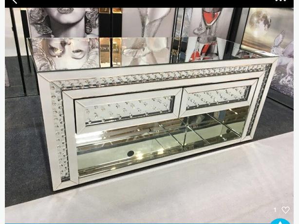 Mirrored floating crystal tv unit