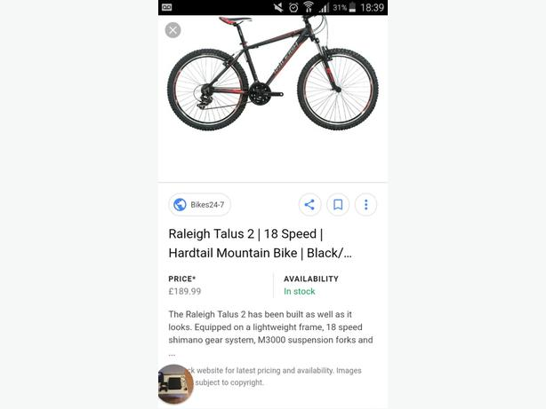 Mens Raleigh Talus 2 Mountain Bike