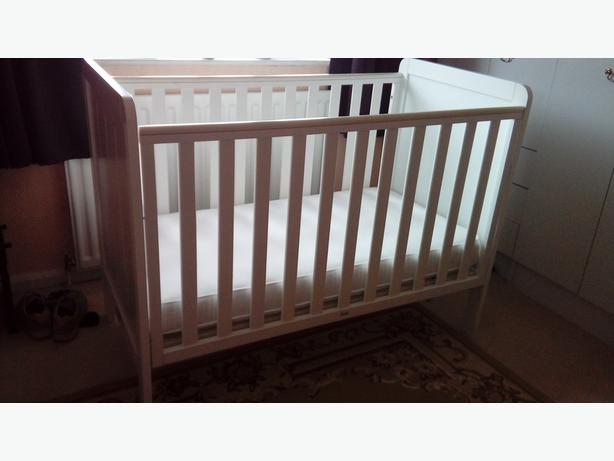 mothercare white drop side cot with mattress