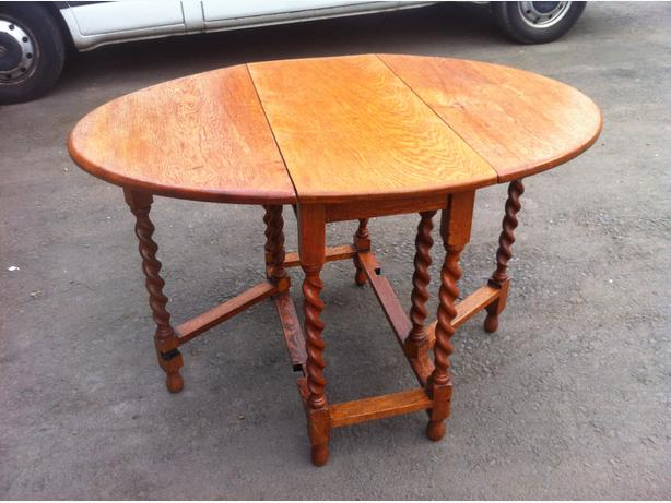 SOLID OAK DROP LEAF KITCHEN DINING TABLE WITH BARLEY TWIST LEGS ~~ CAN DELIVER