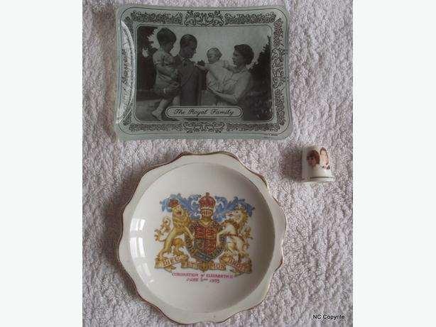 ROYALTY COLLECTABLES, 2 TABLE DISHES, A CHARLES & DIANA THIMBLE & GLASS TANKARD