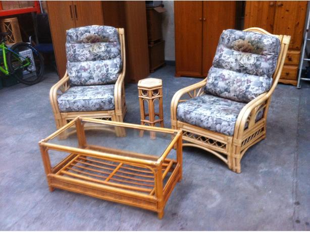 CANE CONSERVATORY SUITE ~~ ARMCHAIRS + COFFEE TABLE ~~ CAN DELIVER
