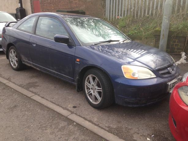 honda civic coupe 1.7 petrol blue 2003 breaking for spares