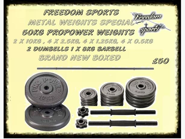 50KG IRON WEIGHTS SET BRAND NEW BOXED £50