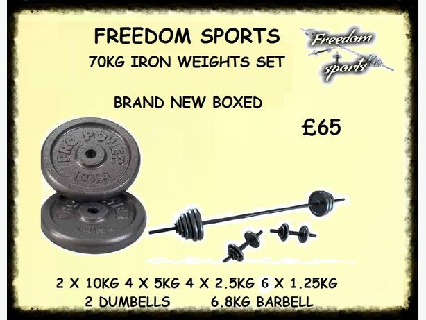 70 KG IRON WEIGHTS SET BRAND NEW BOXED