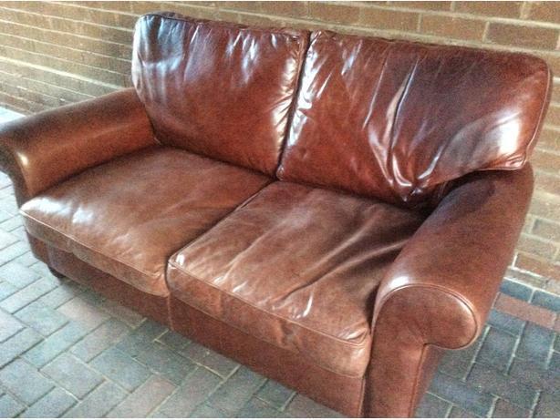 FREE Laura Ashley 2 seater Abingdon brown leather sofa Kingswinford ...