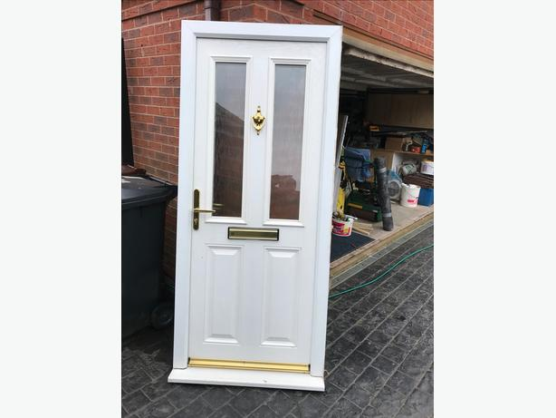 Second hand composite door in white