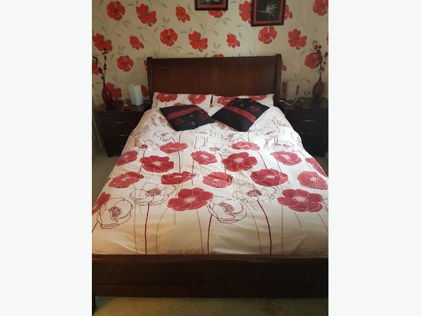 mahogany sleigh bed and because cupboards